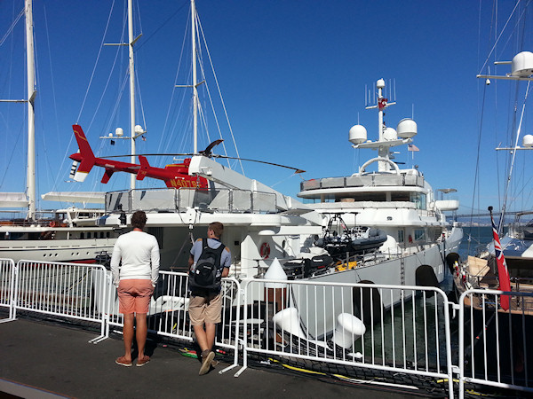 Larry Ellison's boat in the America's Cup park