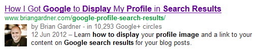 Search result with a profile pic